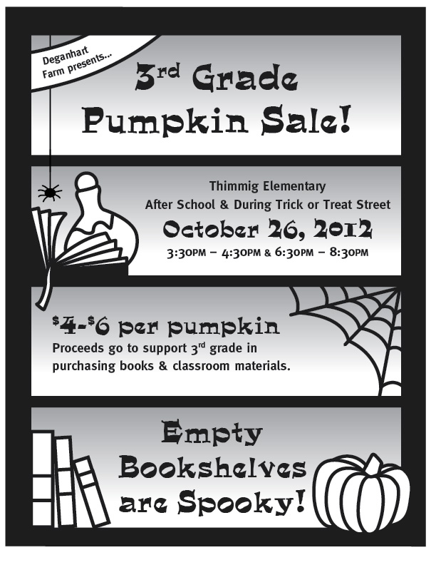 Poster for school fundraiser with haunted bookshelf