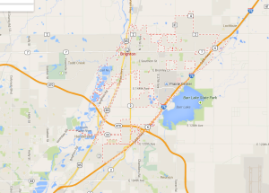 Map of Brighton, Colorado from Google Maps